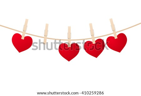 heart clothespins isolated on white background.
