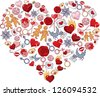 Heart, consisting of a number of individual objects. Rasterized copy of vector image - stock photo