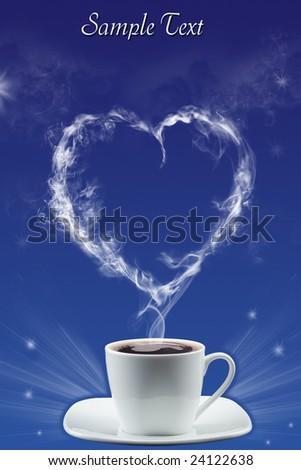 Heart created by a smoke - stock photo