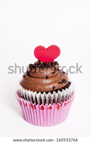 Heart Cupcake for Valentine's Day on White - stock photo