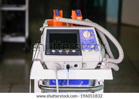 Heart Defibrillator unit - emergency high technology equipment  - stock photo