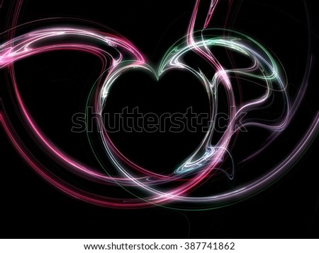 heart design in shades of red and green in front of a black background - stock photo