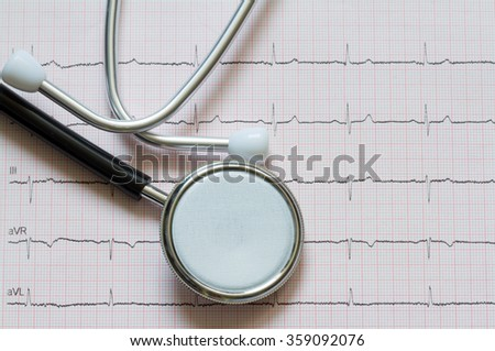 Heart disease abstract sign symbol with cardiogram - stock photo