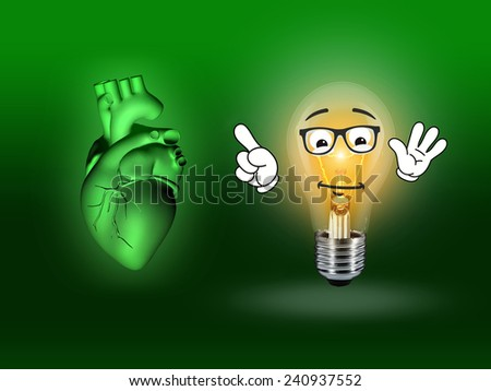heart disease 3d anatomy illustration bulb green - stock photo