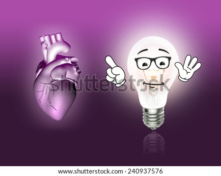 heart disease 3d anatomy illustration bulb pink - stock photo