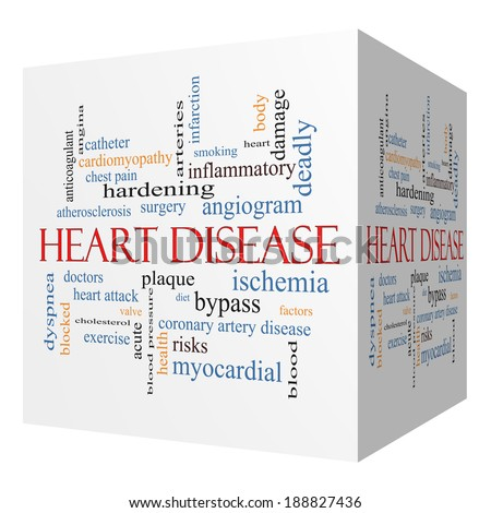 Heart Disease 3D cube Word Cloud Concept with great terms such as plaque, ischemia, factors and more. - stock photo