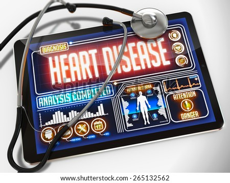 Heart Disease - Diagnosis on the Display of Medical Tablet and a Black Stethoscope on White Background. - stock photo