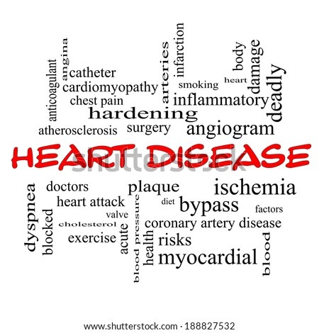 Heart Disease Word Cloud Concept in red caps with great terms such as plaque, ischemia, factors and more. - stock photo