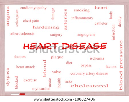 Heart Disease Word Cloud Concept on a Whiteboard with great terms such as plaque, ischemia, factors and more. - stock photo