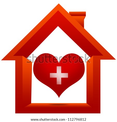 Heart Donation Center Concept Present By The Red Heart With Cross Sign Inside The House Isolated on White Background