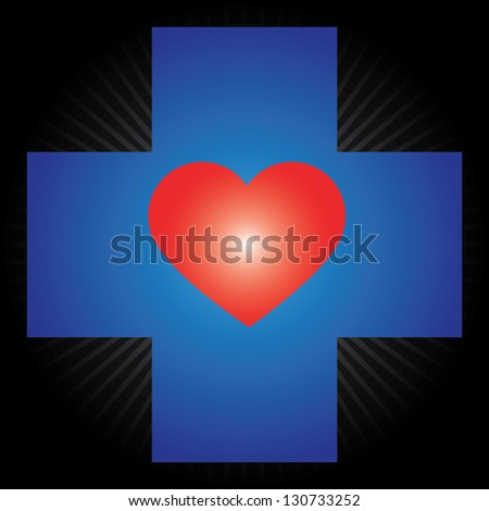 Heart Donation, Save Life or First Aid Concept Present by Blue Cross With Red Heart Inside in Black Shiny Background - stock photo