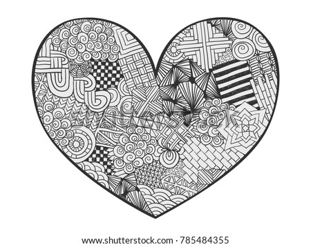 heart doodle coloring page zentangle abstract love ornament valentines day heart hand drawn - Coloring Page Zentangle