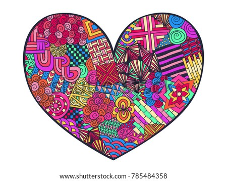 Heart Doodle Coloring Page Zentangle Abstract Love Ornament Valentines Day Hand Drawn