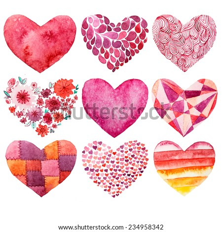 heart, drawing, watercolor - stock photo