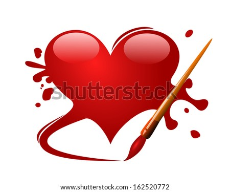 Heart drawn in red paint with brush on white background  - stock photo