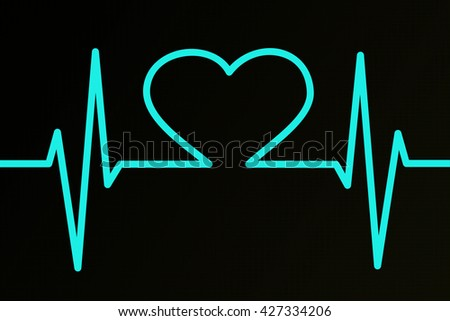 Heart ekg teal background