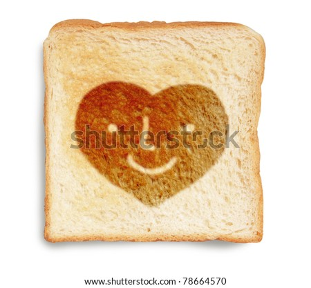 heart face on toasted bread isolated on white background