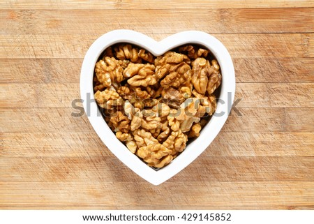 Heart filled with walnuts