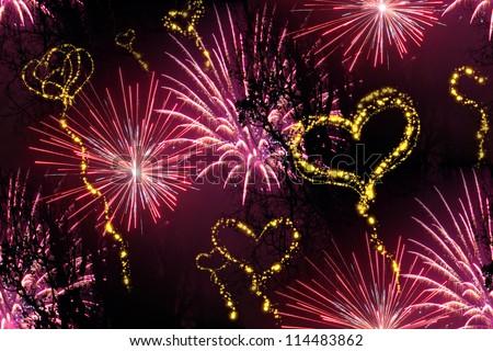 heart fireworks background - stock photo