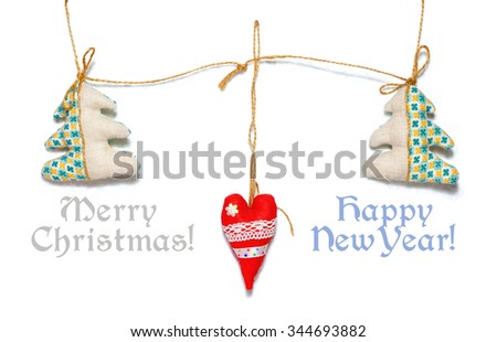 Heart.Firs.Decor. Merry Christmas! Happy New Year! - stock photo
