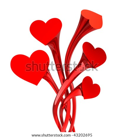 Heart flower - love concept . Isolated on white. 3D image.