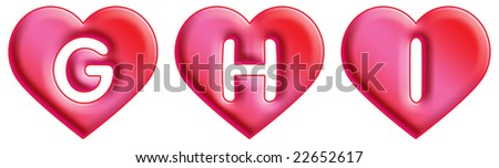 Heart Font - letters - G, H & I - stock photo