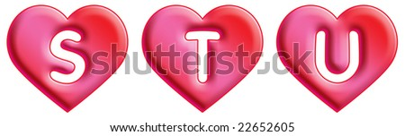 Heart Font - letters - S, T & U - stock photo