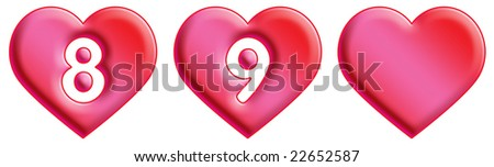 Heart Font - numbers - 8 & 9 - stock photo