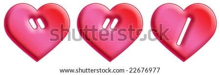 Heart Font - punctuation - stock photo