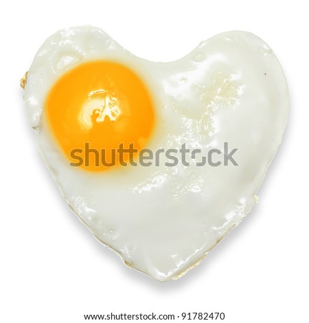 Heart fried egg isolated