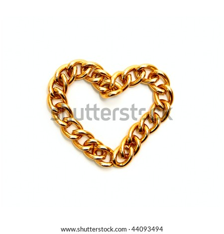 Heart from gold chain isolated on white - stock photo