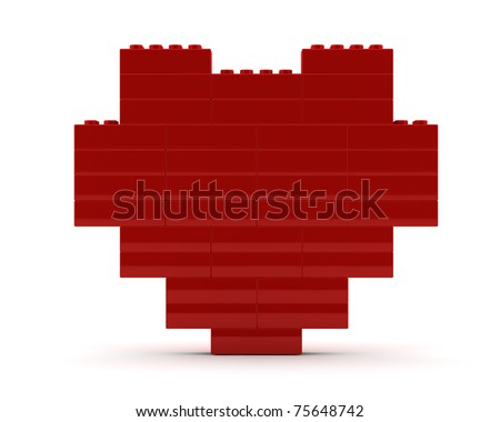 Heart from lego cubes - stock photo