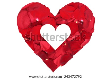 Heart from petals from flower roses love topic on Valentine's and mothers day isolated with copyspace - stock photo