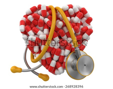 Heart from Pills and stethoscope (clipping path included) - stock photo
