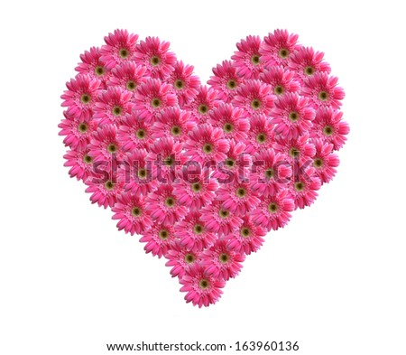 Heart from pink gerbera flowers alphabet isolated on white  - stock photo