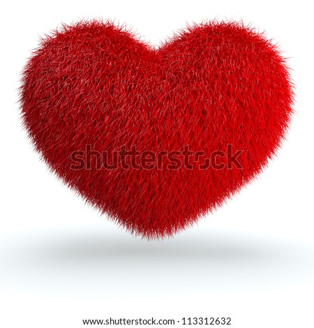 Heart from red fur. 3d render illustration isolated at white background - stock photo