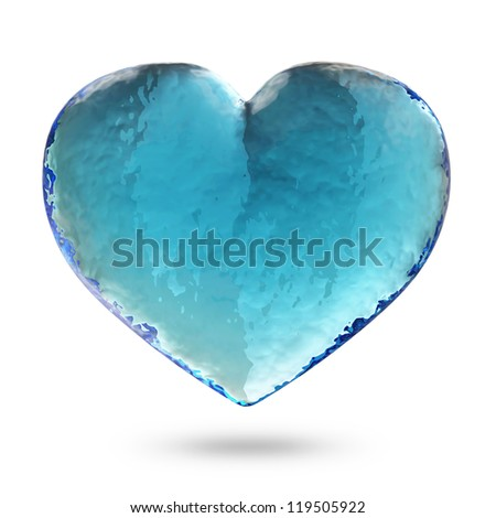 Heart from Water isolated on white background - stock photo