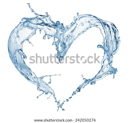Heart from water splash with bubbles isolated on white - stock photo