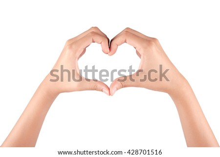 Heart Gesture on white background - stock photo