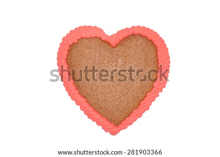 heart gingerbread isolated on white - stock photo
