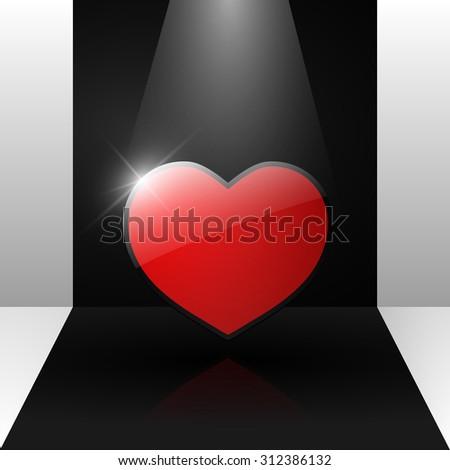 Heart, glass heart, love, heart illustration - stock photo