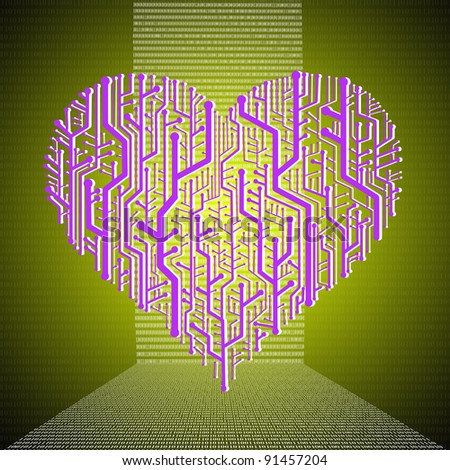 Heart graphic in circuit board theme, Heart healthy concept