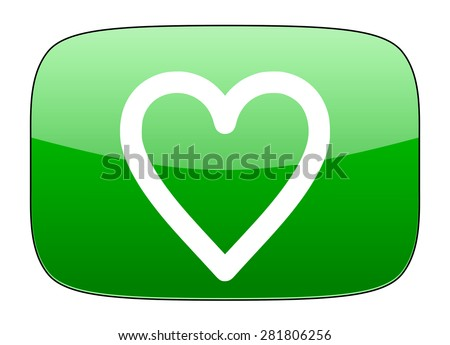 heart green icon love sign  - stock photo