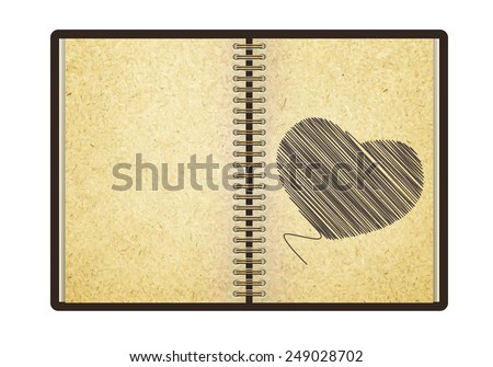 Heart hand painted blank realistic spiral notebook and pencil - stock photo