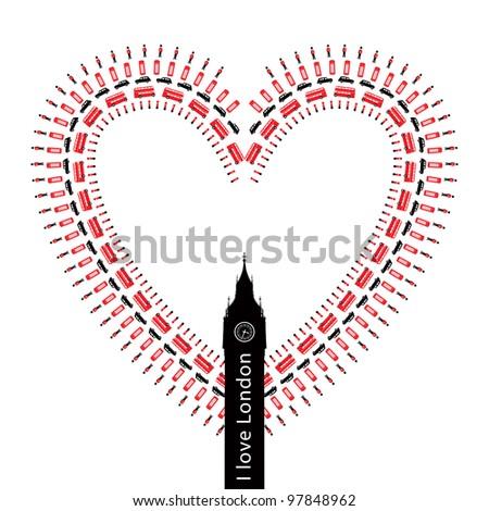 Heart -?? I love  London - symbols  -  icons - conceptual isolated illustration - stock photo