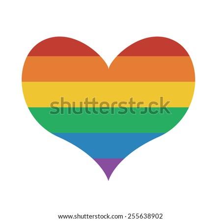 Heart icon with rainbow flag Valentine day symbol - stock photo