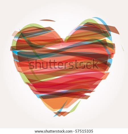 heart Illustration icons symbols Valentine day - stock photo