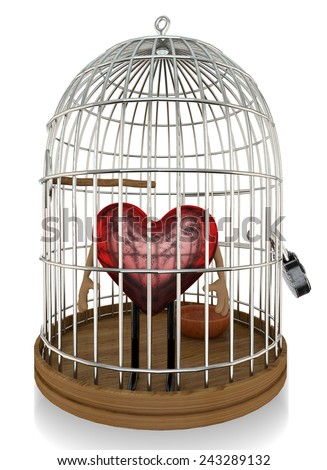 Heart in a Bird Cage - stock photo