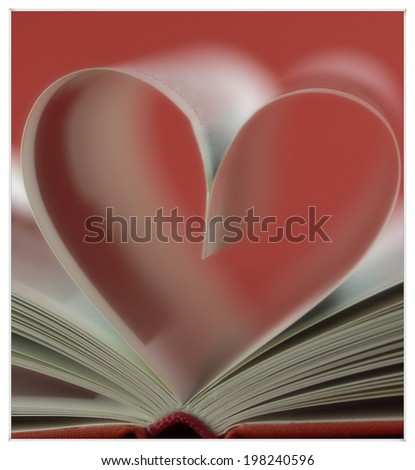 heart in a book - stock photo