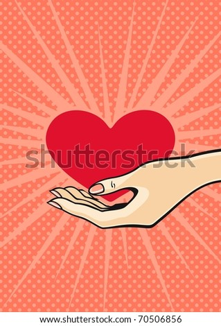Heart in a hand (raster version) - stock photo